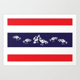 Thailand Flag, Roosters Sparring Art Print