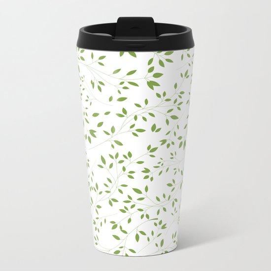 Leaves Pattern in Green & White Metal Travel Mug