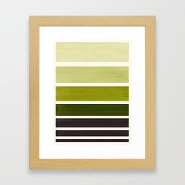 Olive Green Minimalist Mid Century Modern Color Fields Ombre Watercolor Staggered Squares Framed Art Print