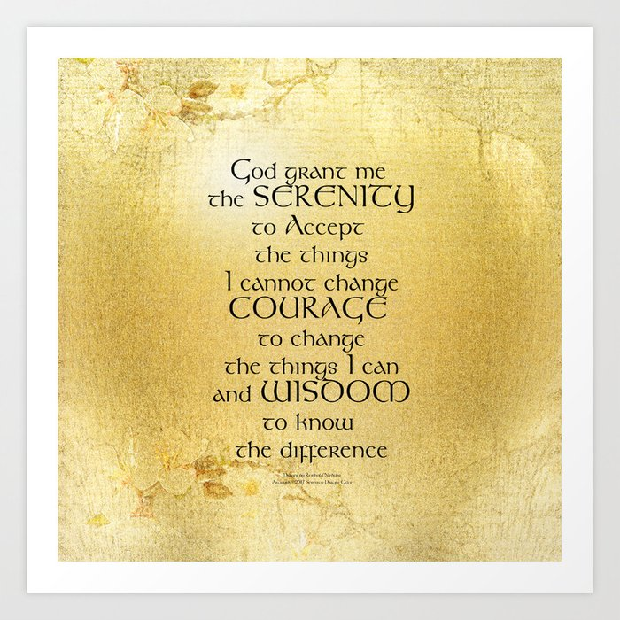 Serenity Prayer Kelt on Yellow Art Print by peace_gifts | Society6