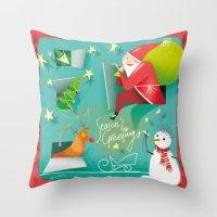 calendar Throw Pillows featuring Christmas Calendar by Lorenzo Sabbatini