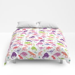 Watercolor Dinosaur Silhouette Pattern Purple Pink Green Comforters