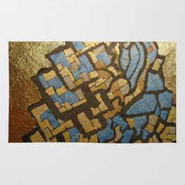 Gold cubic Eiffel tower close up Rug