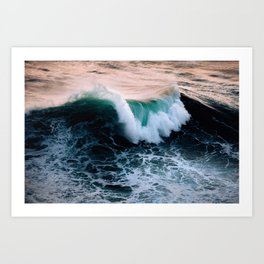 Wild wave on Nazare beach during sunset – Ocean Photography Art Print