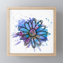 GC031-4 Colorful watercolor doodle flower blue and purple Framed Mini Art Print