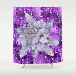 WHITE DRUZY QUARTZ & PURPLE AMETHYST CRYSTAL VIGNETTE Shower Curtain
