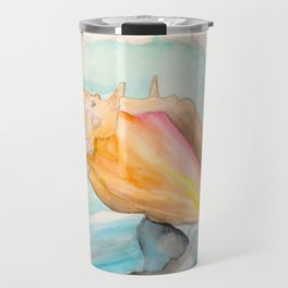 Conch Shell Watercolor Travel Mug