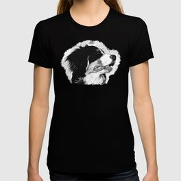 bernese mountain dog vector art black white T-shirt