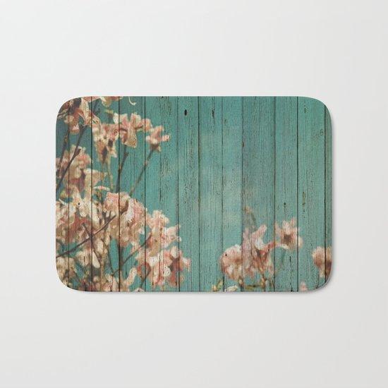 Sweet Flowers on Wood 02 Bath Mat