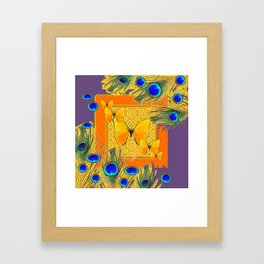Golden Butterflies & Blue  Peacock Feathers On Puce Framed Art Print