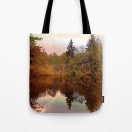Mirror Pond, Perfect Stillness At Sunset Tote Bag