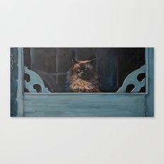 Ragdoll Cat Blue Eyes Inside (screen door with gingerbread)  Canvas Print