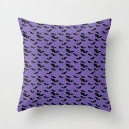 Batty purple Throw Pillow