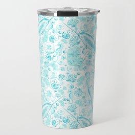 Mermaid Toile - Teal Travel Mug