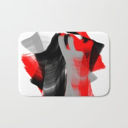 dancing abstract red white black grey digital art Bath Mat