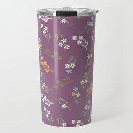 Tossed Wildflowers in Purple Travel Mug