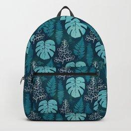 Tropical leaves on dark green Backpack