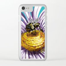 Wasp on flower 3 Clear iPhone Case