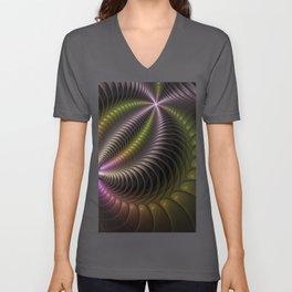 Powerful Movement, Psychedelic Fractal Art Unisex V-Neck