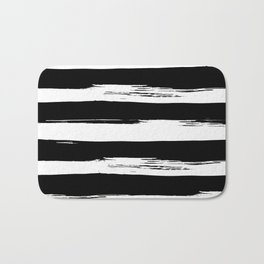 Paint Stripes Black and White Bath Mat