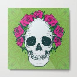Hippie Flowers in my Hair Rosy Dios De Los Muertos Sugar Skull Metal Print