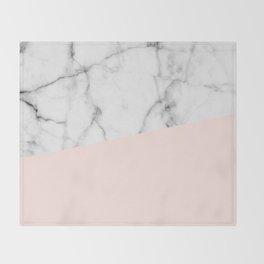 Real White marble Half Salmon Pink Throw Blanket