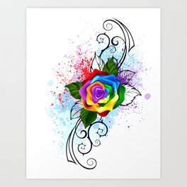 Patterned Rainbow Rose Art Print