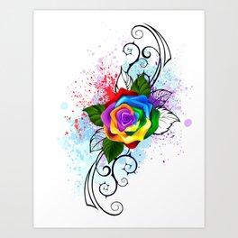 Patterned Rainbow Rose Art Print