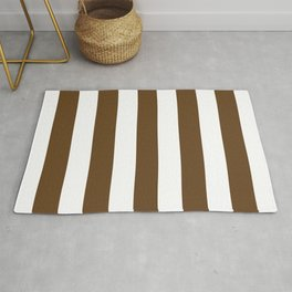 Otter brown - solid color - white vertical lines pattern Rug