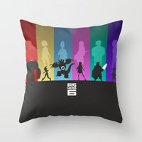 big hero 6 Throw Pillows featuring The Big Hero 6 by Travis Love