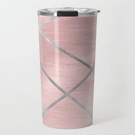 Modern Pink & Silver Line Art Travel Mug