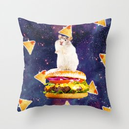 Space Hamster Riding Burger With Nachos Throw Pillow