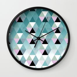 Geometric Prisme Pattern - Teal & Pink Wall Clock