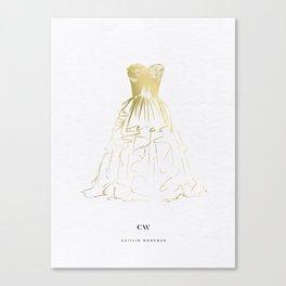 Little Gold Ball Gown Dress Canvas Print