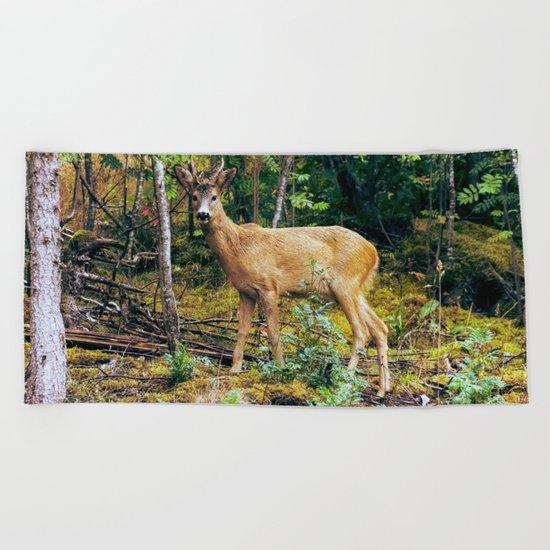 The Wandering Deer Beach Towel