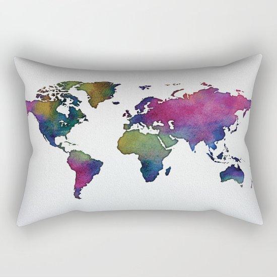 Multicolor World Map 02 Rectangular Pillow