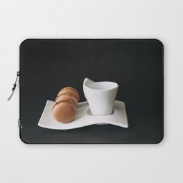 Set of cup of coffee and macaroons against black background Laptop Sleeve