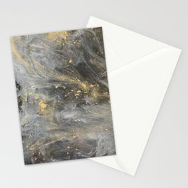 Black and Gold Galaxy Marble effect Stationery Cards