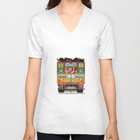 truck V-neck T-shirts featuring TRUCK ART by urvi
