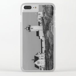 Eastern point Lighthouse Black and White aug2017 Clear iPhone Case