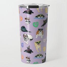 Valentine's Day Candy Hearts Puppy Love - Purple Travel Mug