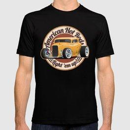 American Hot Rods Light 'Em Up Vintage Car Illustration T-shirt