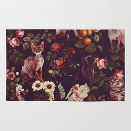 Cat and Floral Pattern Rug