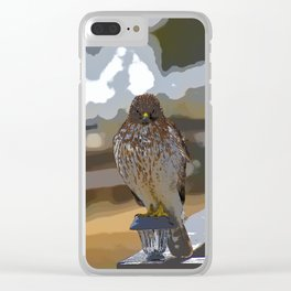 Chicken Hawk Starring Down At Me Clear iPhone Case
