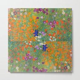 Floral Garden with Multicolor Flowers by Gustav Klimt Metal Print