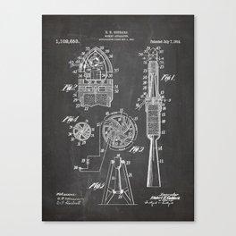 Rocket Ship Patent - Nasa Rocketship Art - Black Chalkboard Canvas Print