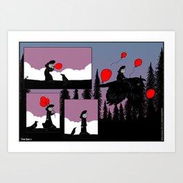 Flying Balloons Art Print