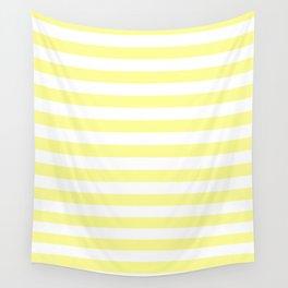 Narrow Horizontal Stripes - White and Pastel Yellow Wall Tapestry