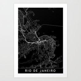 Rio De Janeiro Black Map Art Print
