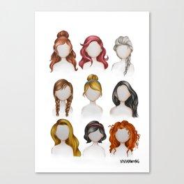 Dis ney Princess Hairstyles Drawing Canvas Print